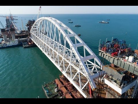 Russian engineers finished the main part of the bridge to Crimea