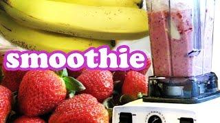 How To Make A Strawberry Banana Smoothie Recipe - Smoothies Challenge Healthy Milkshake Easy Recipes