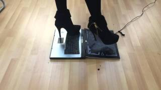 Repeat youtube video Girl trample crush and jumping on laptop with high heels boots part 4