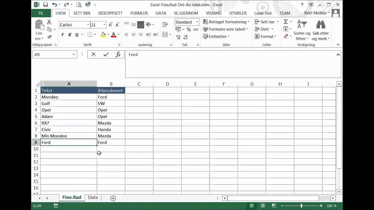 Excel på norsk: Finn.Rad når vi søker med en del av en tekst ...