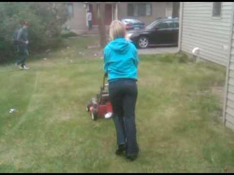 Lawn mower girl - YouTube