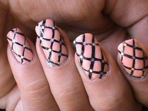 fishnet nails  easy nail designs for beginners  youtube