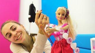 Барби украшает ободок. Видео для девочек