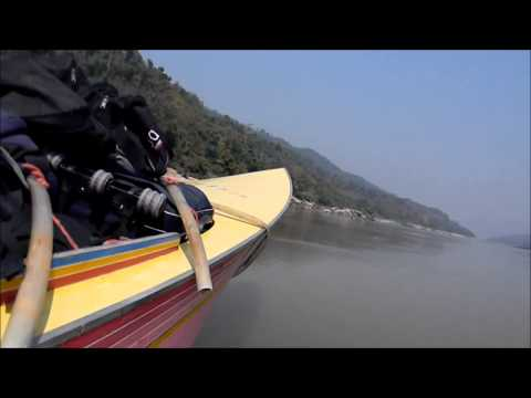 Bean're rides a speedboat up the Mekong River in Asia