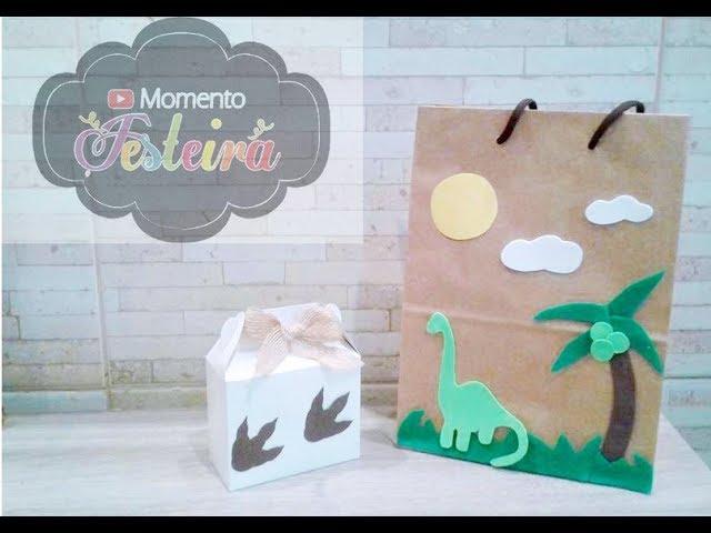 Sacolinha Personalizada e Caixinha Surpresa - Tema Dinossauro - Projeto Momento Festeira