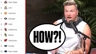 Pat McAfee Reacts To The New College Football Rankings