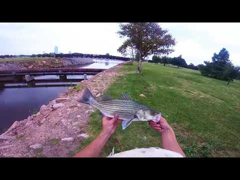 BASS FISHING ON THE OKLAHOMA RIVER SOUTH OF DOWNTOWN OKC!!