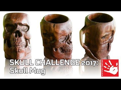 DIY Skull Mug Carved from a Walnut Log (firewood to mug)