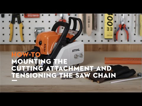 STIHL MS 170 chainsaw: Mounting the bar and chain, tensioning the saw chain