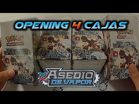 APERTURA CARTAS POKÉMON: 4 CUATRO CAJAS ASEDIO DE VAPOR/ 4 BOOSTER BOX STEAM SIEGE OPENING