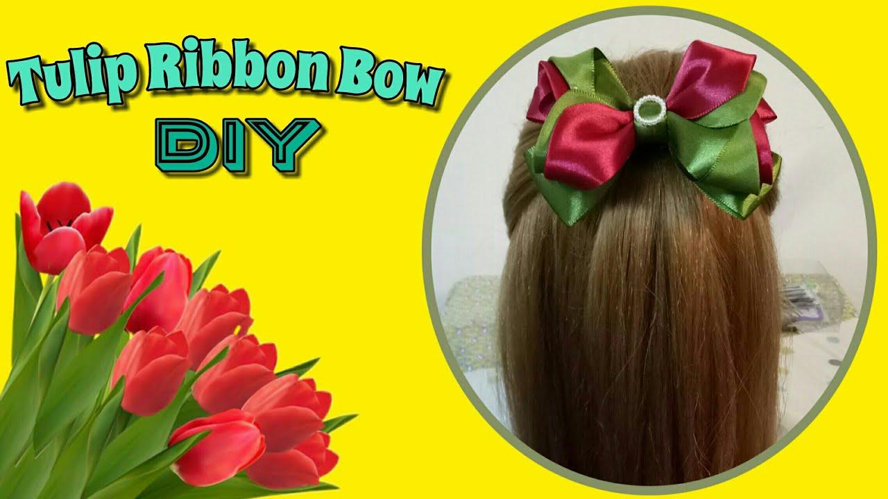 วิธีทำโบว์ติดผม ทิวลิป   Amazing Ribbon Bow - Tulip Hand Embroidery Works  89diy