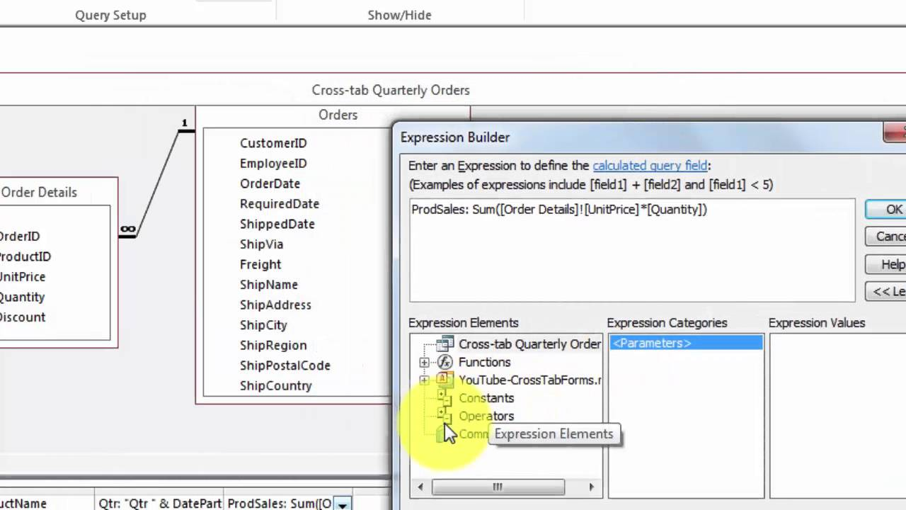 Crosstab Query in an Access Form