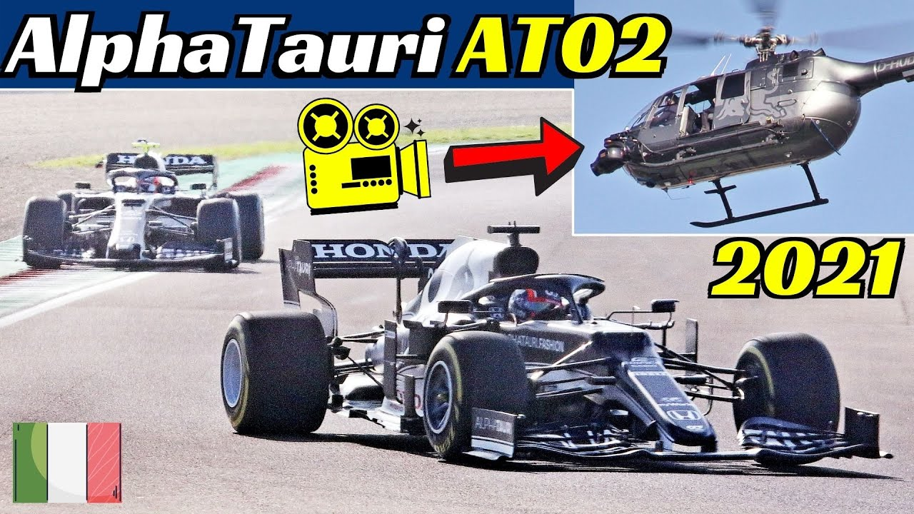 2021 AlphaTauri-Honda AT02 F1 + Toro Rosso STR14 Parade - Imola Filming Day with Helicopter 字幕付きの動画