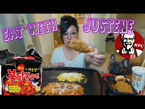 KFC Georgia Gold + Spicy Noodles | mukbang