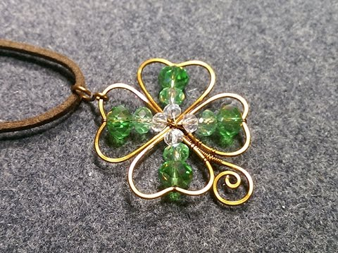 Copper Wire 4 Leaves Grass Clovers Pendant Diy Wire