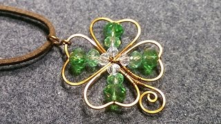 copper wire 4 leaves grass - Clovers pendant - DIY wire jewelry Wel...