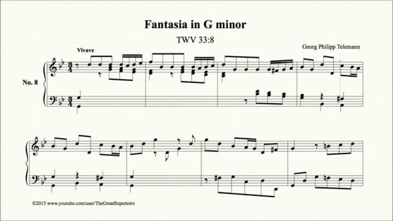 Telemann Fantasia In G Minor Twv 338 Harpsichord
