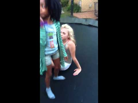 Skai Jackson and Peyton List on trampoline