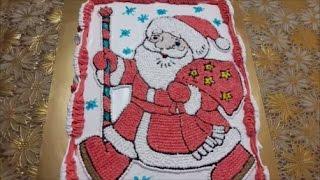 Оформление тортика белково-заварным кремом Новогодний торт /Christmas cake  Дед Мороз  decoration