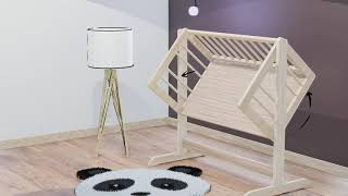 Cradle and Co-bed without varnish, lacquer and paint  - 100% natural video