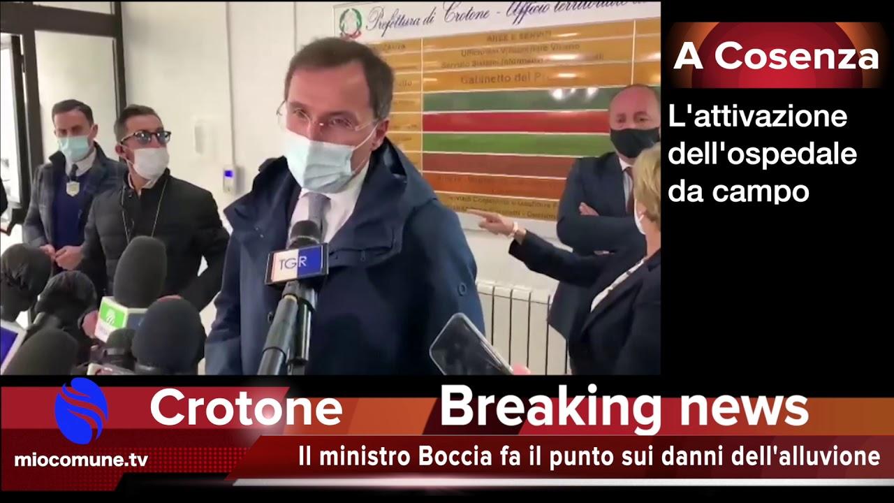 Il ministro Boccia in Calabria per l'alluvione a Crotone e per l'ospedale da campo - VIDEO
