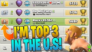 I'M TOP 3 IN THE US AFTER THIS SICK DAY OF TRIPLES! - Clash of Clans