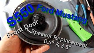Ford Mustang S550 GT Front Door Speakers Installed (6.5