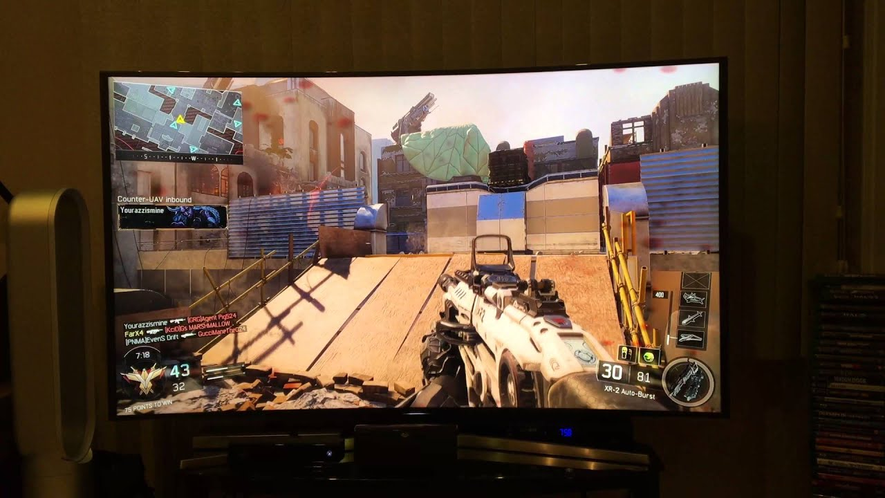 samsung un65js9000 4k cod black ops 3 gameplay - youtube