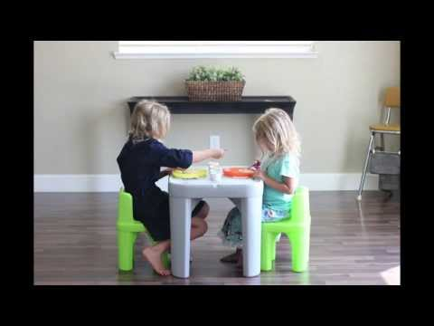 Step2 Mighty My Size Table & Chairs Set Review by Gluesticks - YouTube