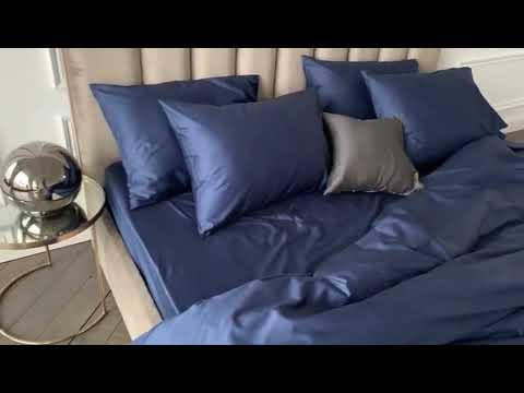 Синее постельное белье синий цвет в интерьере спальни