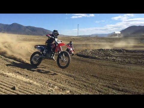 10 year old rides 450 dirt bike!