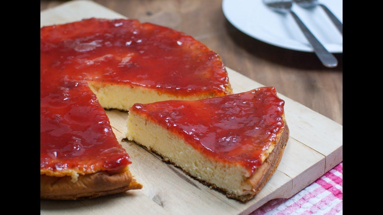Resultado de imagen de tarta de queso al horno con mermelada