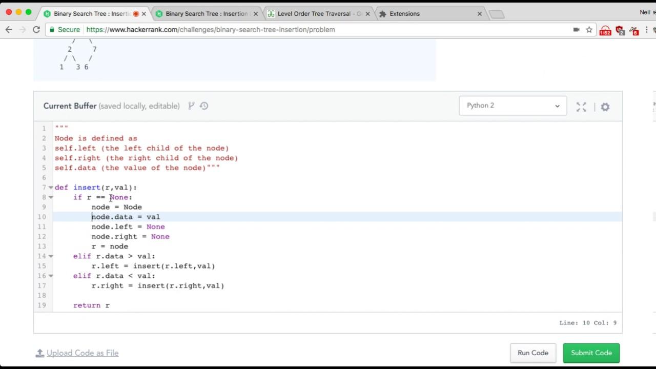 HackerRank | binary search tree insertion/problem