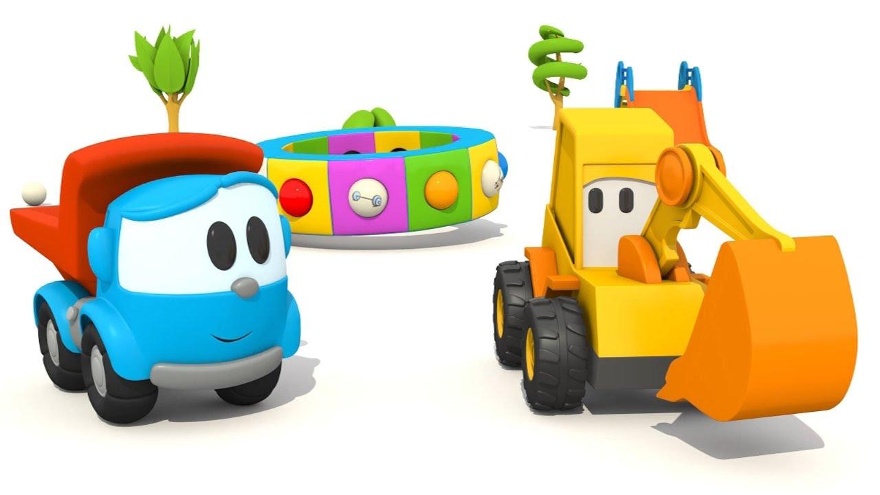 L escavatore max e il camion leo giocano con la giostra