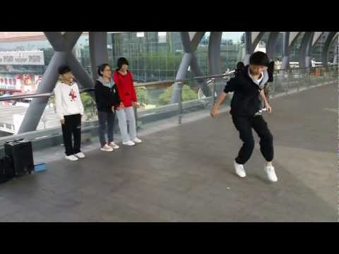 Very Cute Chinese Teenage Boy Hip Hop street dancing Zhongshan China