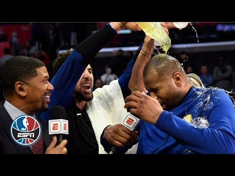 DeMarcus Cousins gets drenched by Klay Thompson and Steph Curry after his Warriors debut | NBA Sound