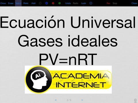 Gases, Ecuación Universal Gases Ideales, Ecuación General, proceso isóbarico, isotérmico, isométrico