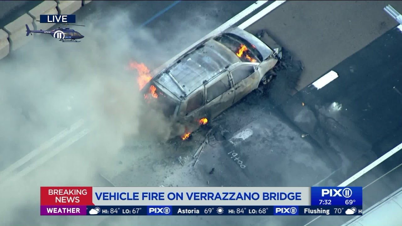 Vehicle fire on Verrazzano Bridge causes traffic during morning commute