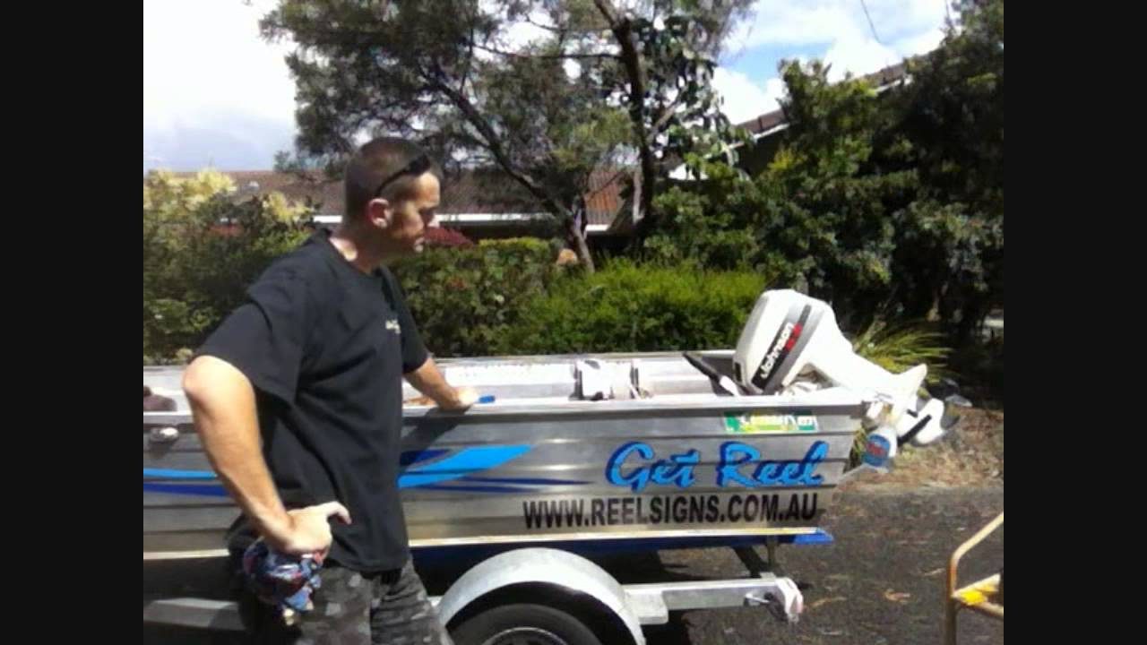HOW TO APPLY BOAT DECAL STICKER Using Wet Method On Clinker Hull - Cool boat decals