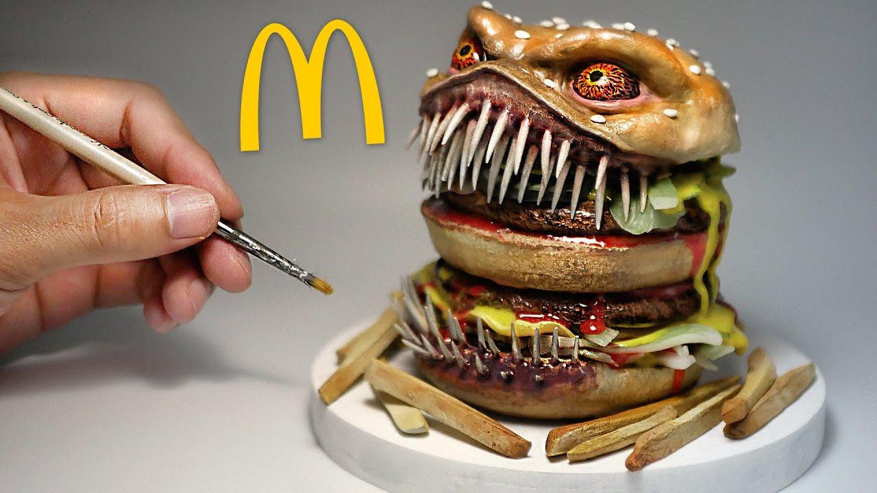 How To Make The Creepiest Hamburger Diorama / Polymer Clay / Epoxy resin