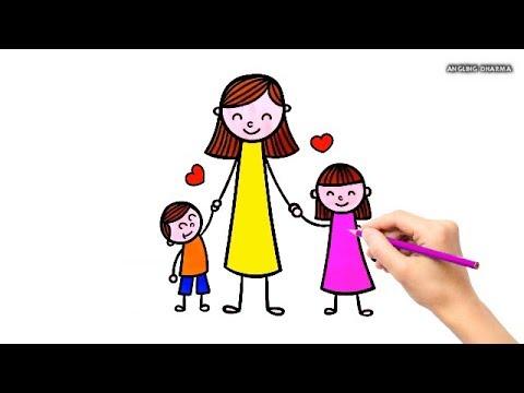 Belajar Menggambar Dan Mewarnai Ibu, Adik, Kakak Untuk Anak - Anak
