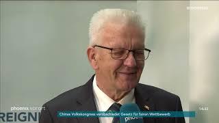 Phoenix-reporter claudius crönert im interview mit winfried kretschmann (ministerpräsident von baden-württemberg) zum digitalpakt am 15.03.2019.