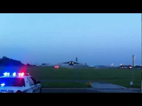 Military C-17 cargo plane taking off from Peter O. Knight Airport on Davis Islands