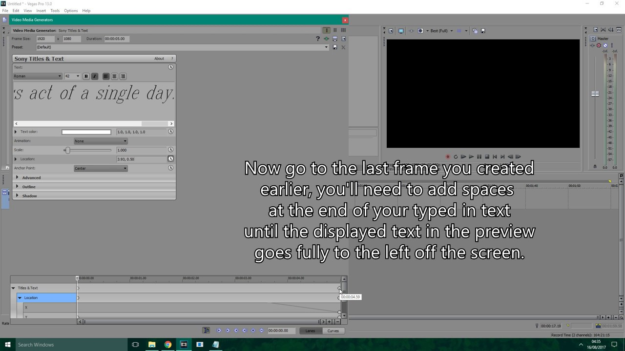 how to stop generated text from changing in sony vegas