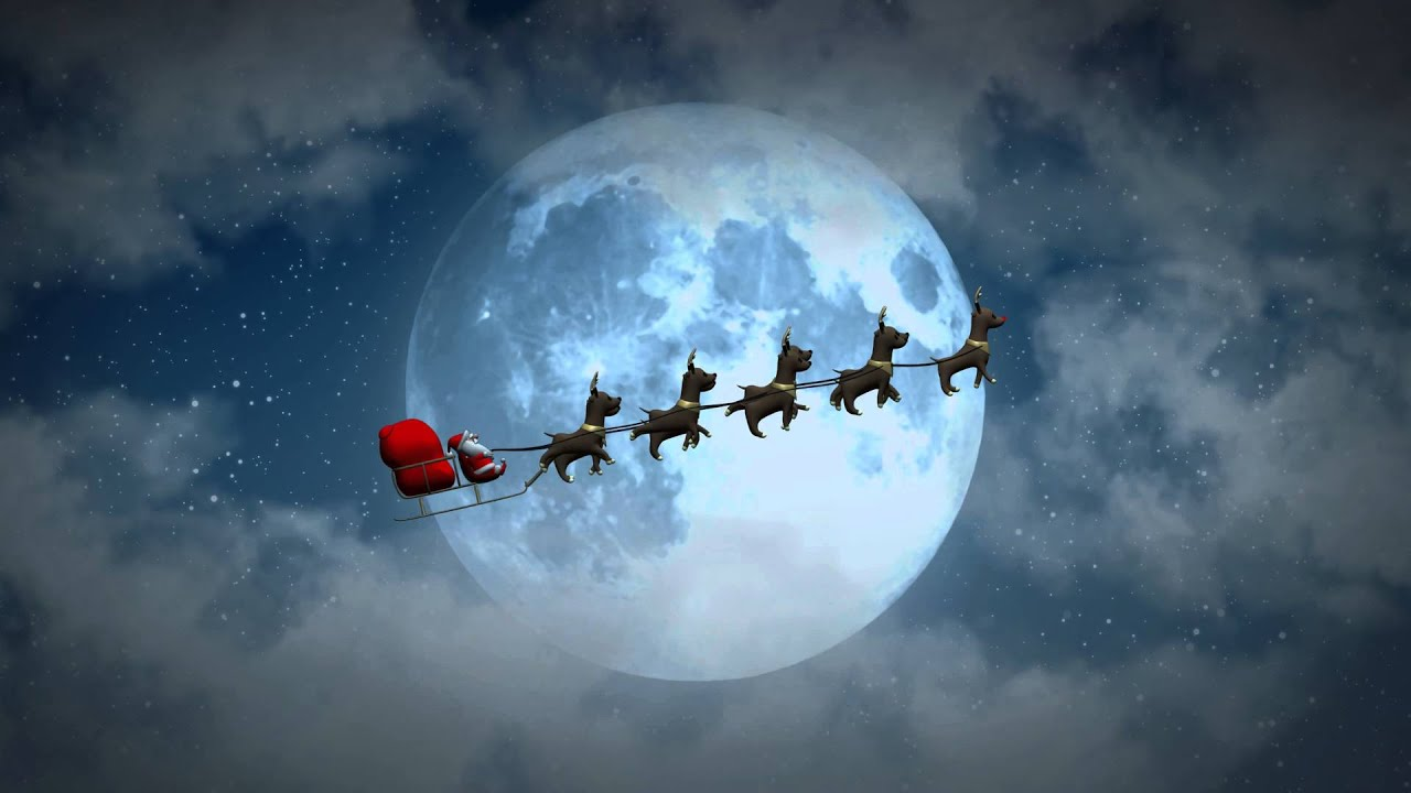 christmas flying santa sleigh reindeer s at night animated motion
