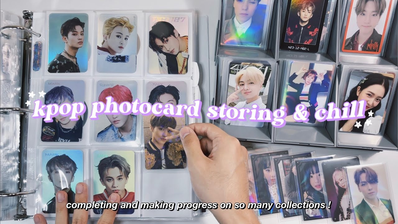 chill organizing + storing new kpop photocards in my binder ✰ completing so many collections & sets!