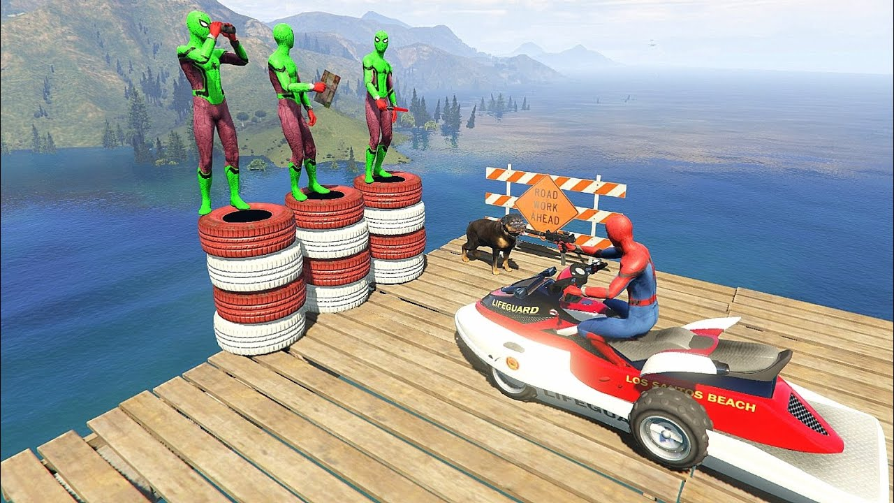 GTA 5 Water Ragdolls Red Spiderman VS Green Spiderman vol.3(Euphoria Physics | Funny Fails) Gameplay