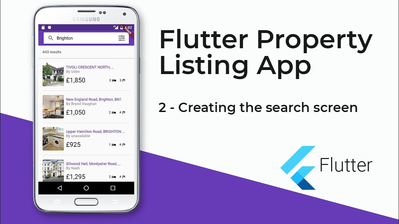 Flutter Property Listing App (2 - Creating the Search Screen)