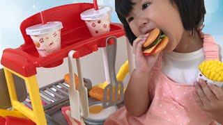 おいしい~‼︎ハンバーガーワゴン カートショップおもちゃ お店屋さんごっこ Cooking with Hamburger Shop Cart Toy