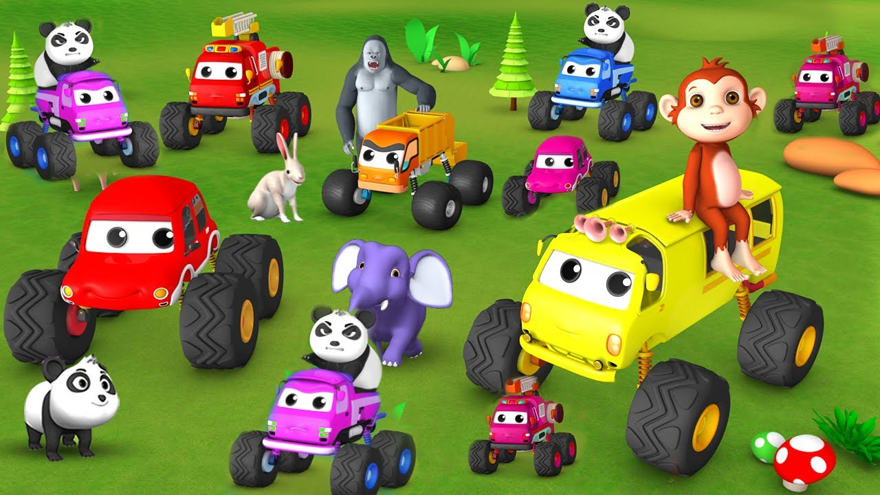 Monster Trucks & Giant Vehicles Race with Monkey Gorilla Farm Animals Comedy Cartoon Videos